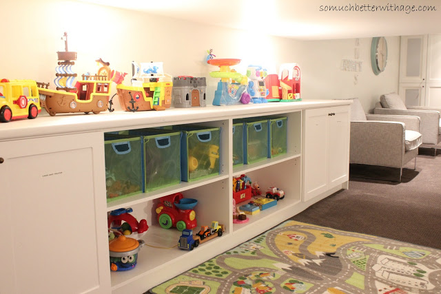 Basement before and after / toys on shelf - So Much Better With Age