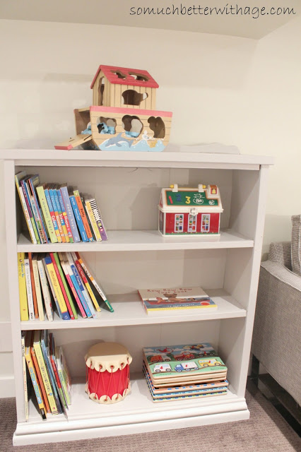 Playroom details / painted grey bookshelf - So Much Better With Age