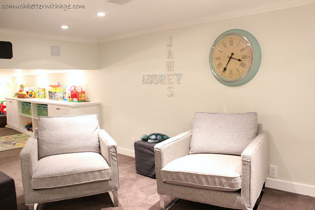 Playroom to man cave / big clock on wall - So Much Better With Age