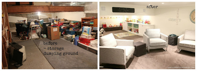Basement Before & After www.somuchbetterwithage.com