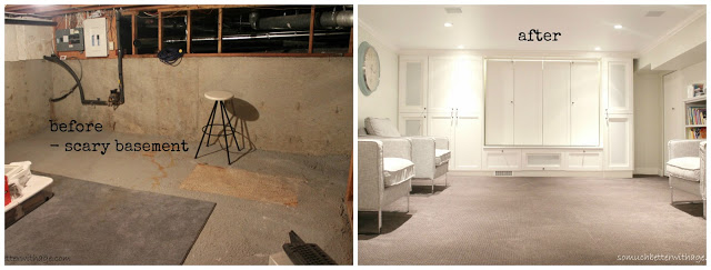 Basement before and after / dark basement before picture and bight after picture - So Much Better With Age