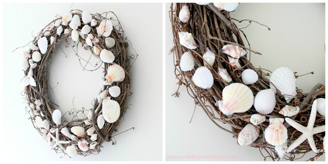 Summer wreath / gluing shells on wreath - So Much Better With Age