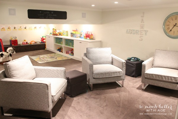 Crawl space turned kids' play room