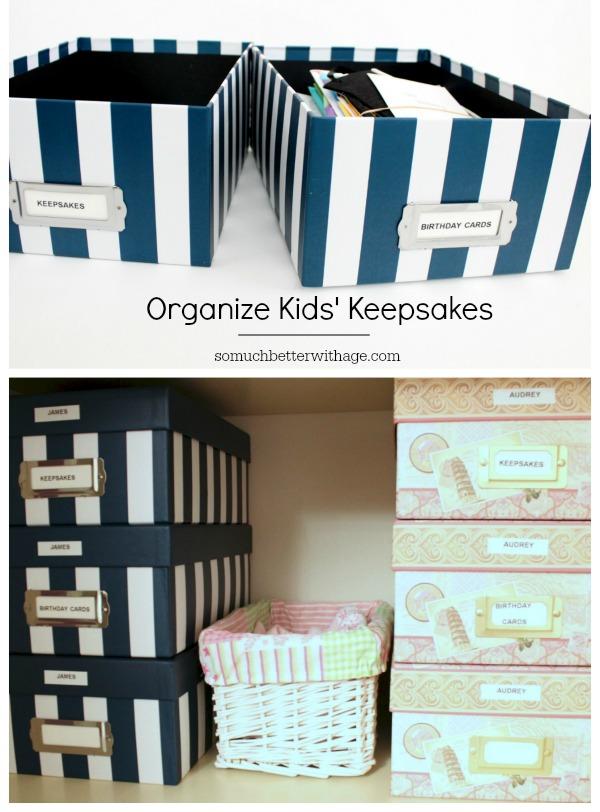 Organize kids' keepsakes via somuchbetterwithage.com