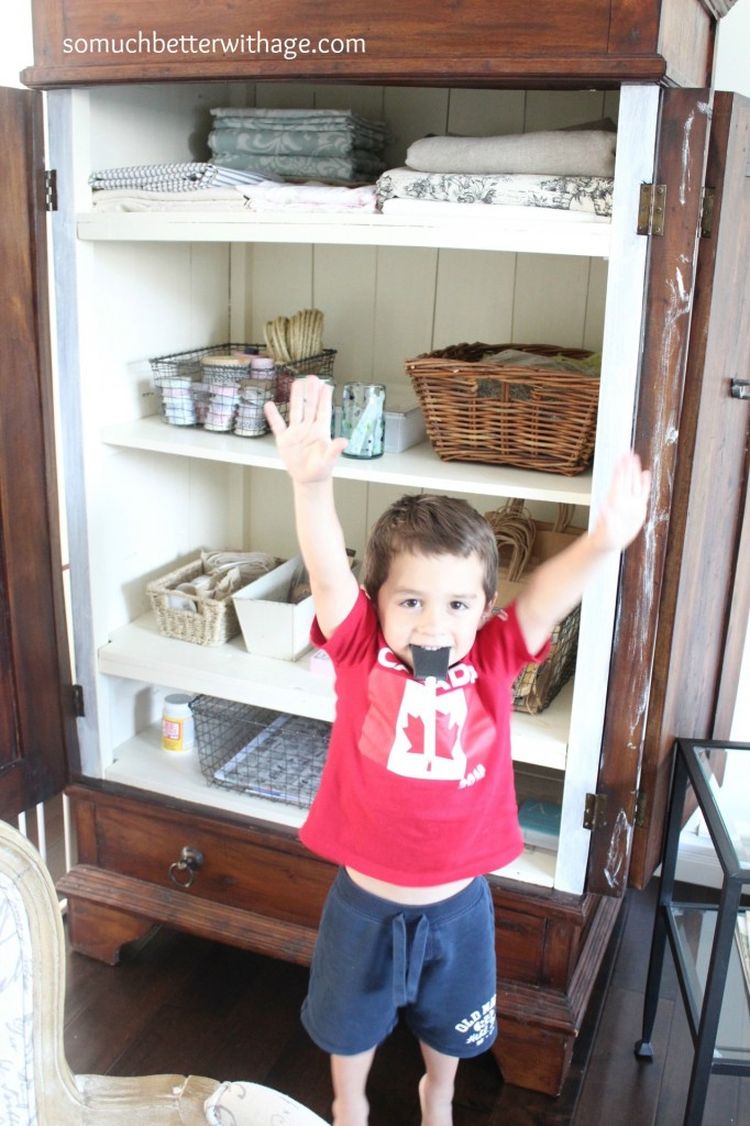 Craft cabinet / adorable picture of child in from of armoire - So Much Better With Age