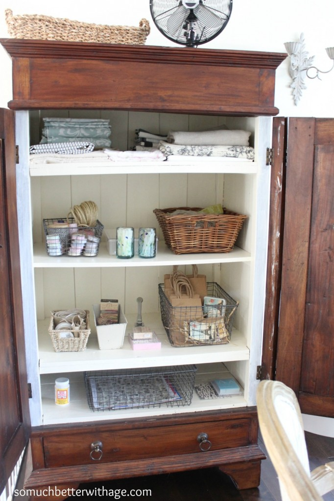 Craft cabinet / all the craft supplies arranged in armoire - So Much Better With Age