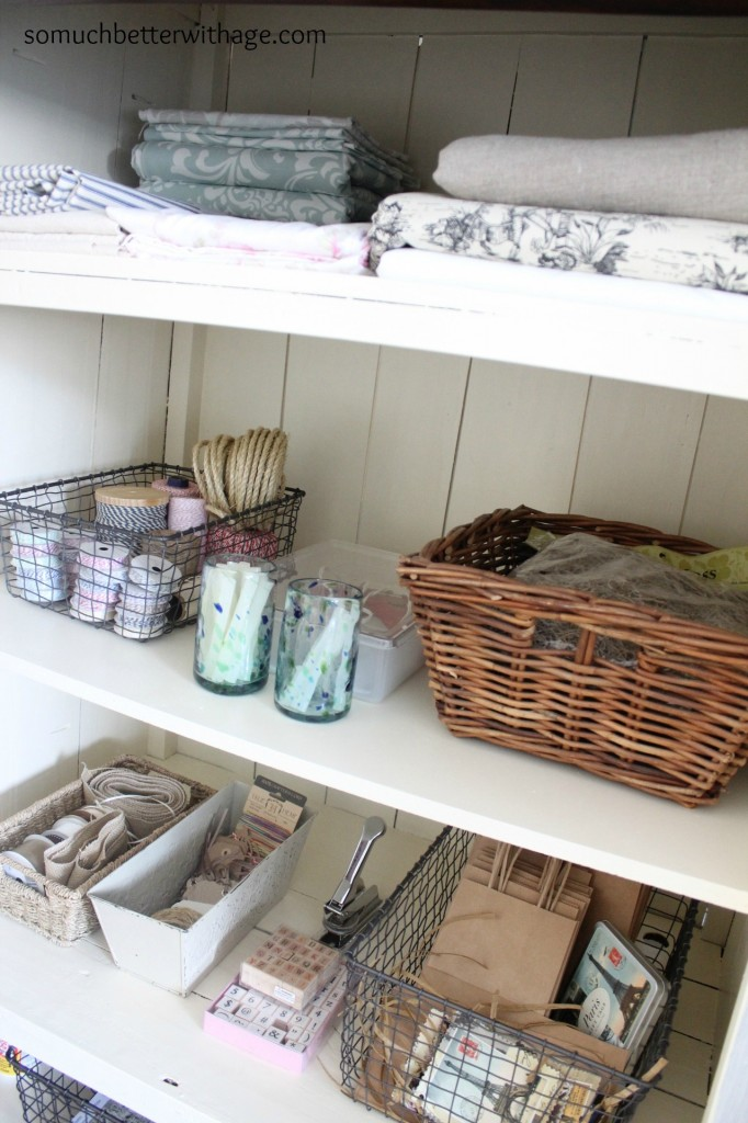 Craft cabinet / baskets inside of armoire - So Much Better With Age