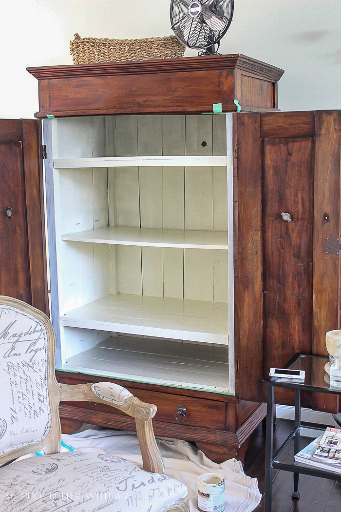 Make a Craft Cabinet/paint inside of armoire - So Much Better With Age