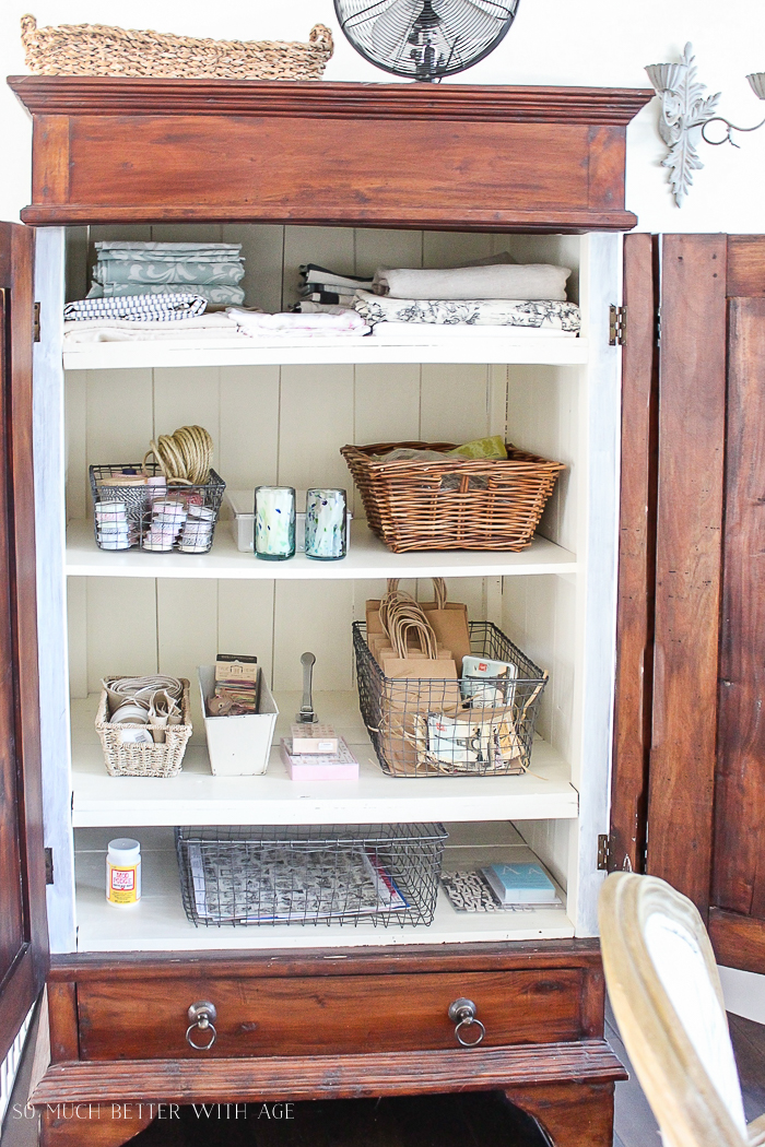 Make a Craft Cabinet/crafts in pretty baskets - So Much Better With Age