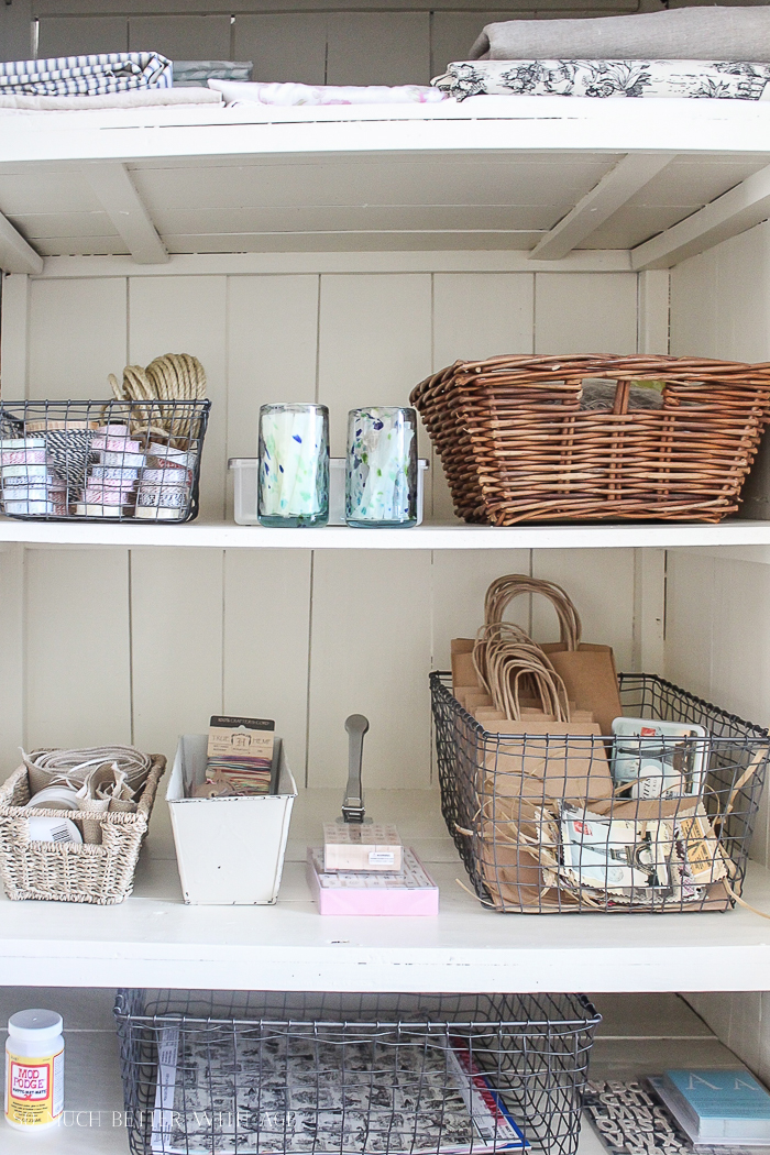 Make a Craft Cabinet/painted shelves, pretty supplies - So Much Better With Age