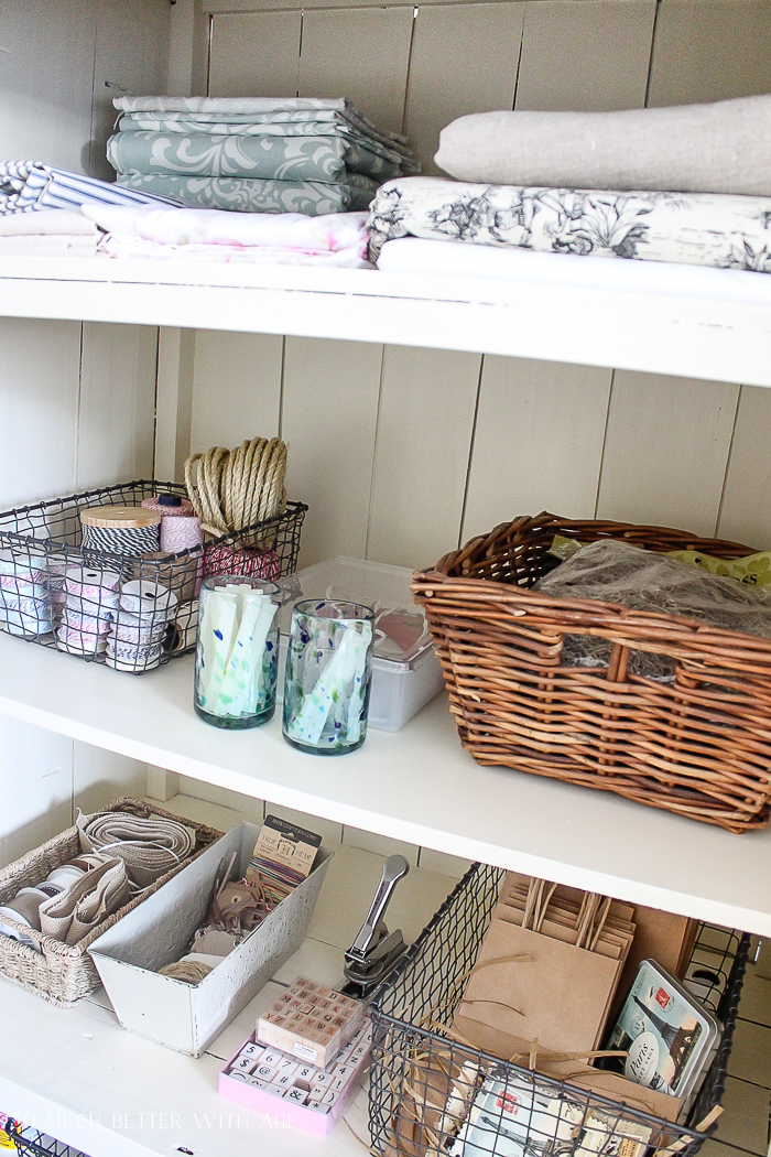 Make a Craft Cabinet/folded fabric and art supplies - So Much Better With Age