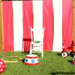 Circus props on grass.