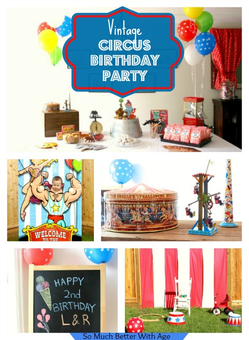 Vintage Circus Birthday Party themed poster