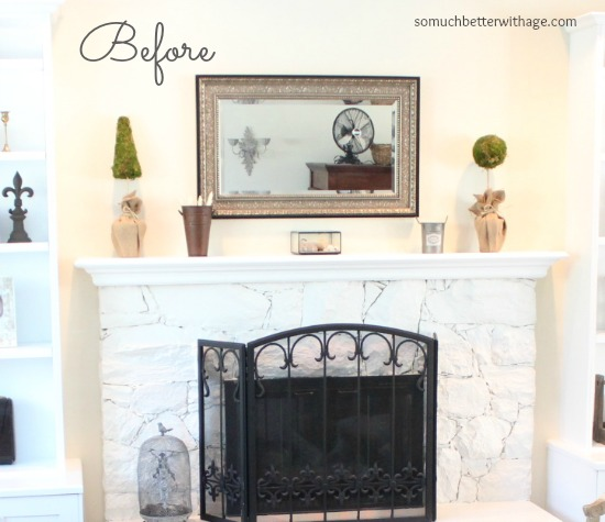 Easy Summer Mantel Update / a before picture of the mantel - So Much Better With Age