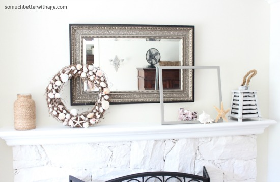 Easy Summer Mantel Update / whitewashed fireplace - So Much Better With Age