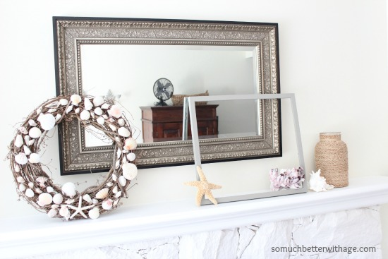 Easy Summer Mantel Update / pretty shell summer wreath - So Much Better With Age