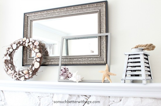 Easy summer mantel update / painting the frame a dark grey - So Much Better With Age