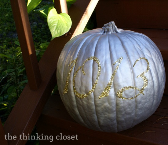 Silver pumpkin on the porch.