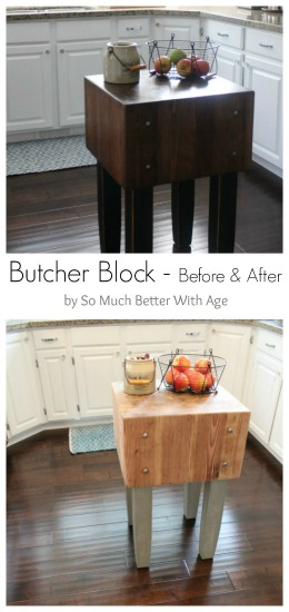 Butcher block before & after www.somuchbetterwithage.com