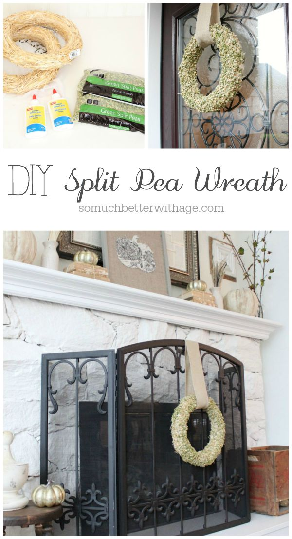 Split Pea Wreath / wreath hanging on fireplace - So Much Better With Age