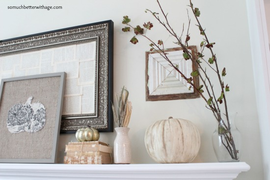 Fall mantel www.somuchbetterwithage.com