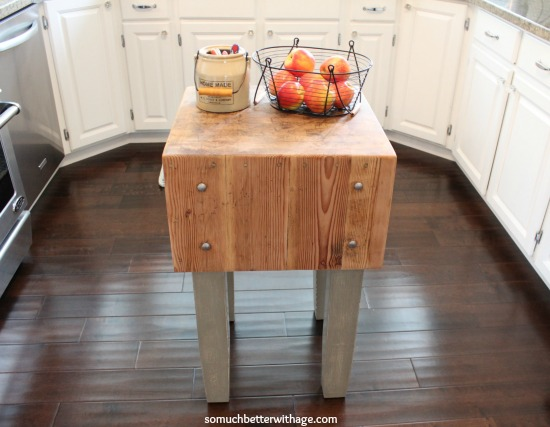 Butcher block makeover and dark wax fail & fix / butcher block back in kitchen with fruit in baskets on top - So Much Better With Age