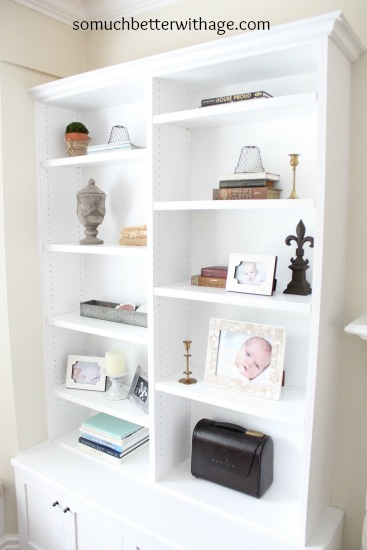 Updated Living Room / minimal bookshelf styling - So Much Better With Age