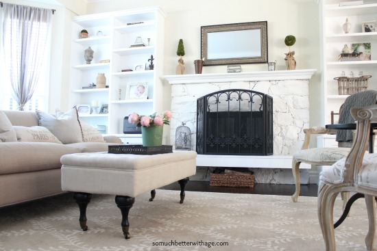 My decorating style series / living room with ottoman and neutral colors - So Much Better With Age
