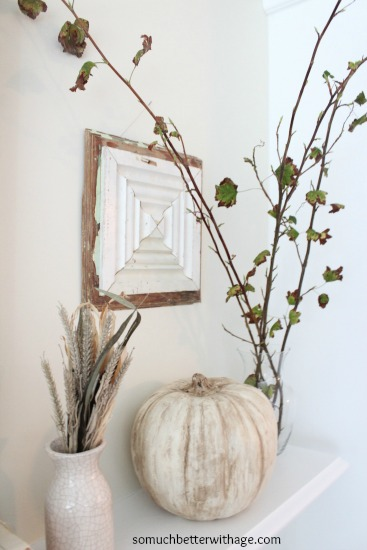 Vintage Chalk Paint Pumpkins/ fall leaves in vase - So Much Better With Age