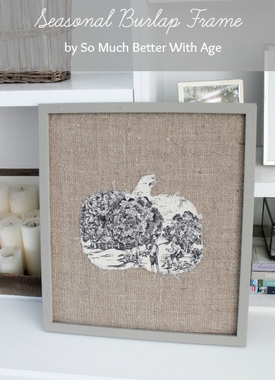 Seasonal Burlap Frame and Toile Pumpkin