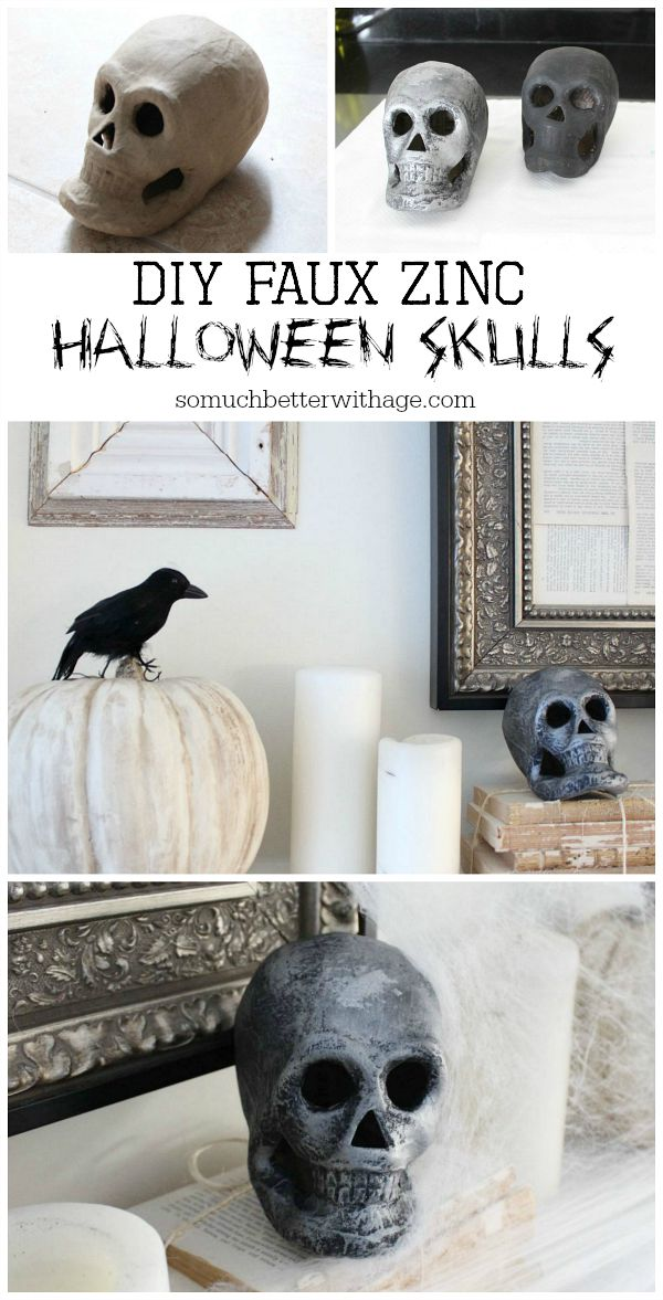 Easy last minute Halloween craft skulls / DIY-faux-zinc-halloween-skulls - So Much Better With Age