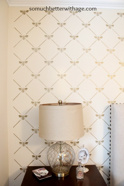 Beautiful stencilled wall / french bee stencil - So Much Better With Age