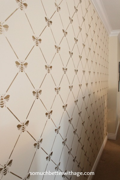 Bee-utiful stencilled wall / completed stencilled wall - So Much Better With Age