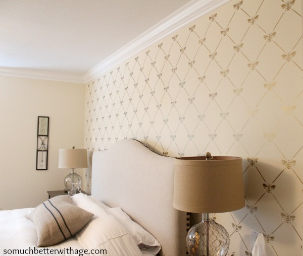 Bee-utiful stencilled wall / stencilled wall with bed and lamps in bedroom - So Much Better With Age