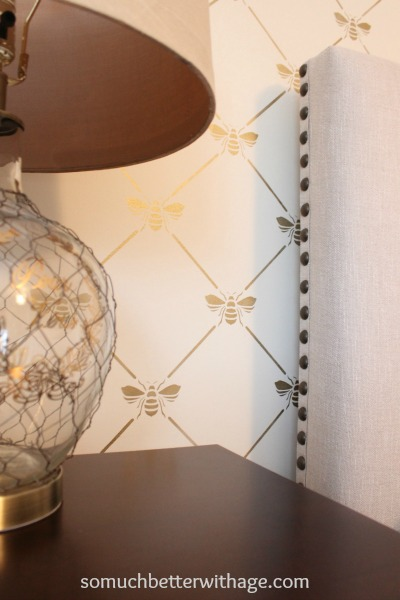 Bee-utiful stencilled wall / gold bees - So Much Better With Age
