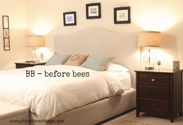 bee-utiful stencilled wall / bedroom with bed and side table - So Much Better With Age