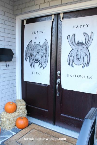Halloween banners on front doors.