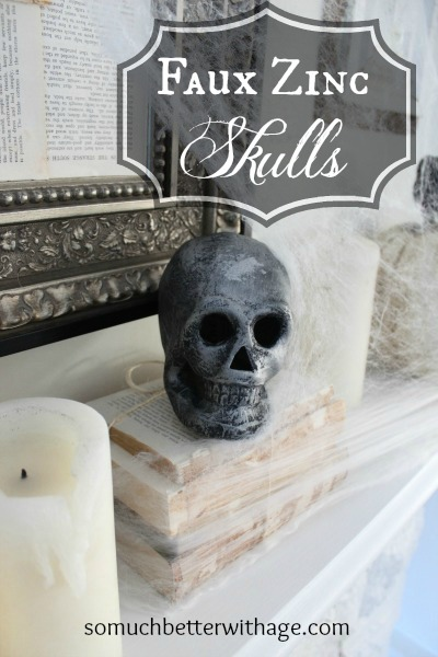 Easy last minute Halloween craft skulls / skull on books - So Much Better With Age