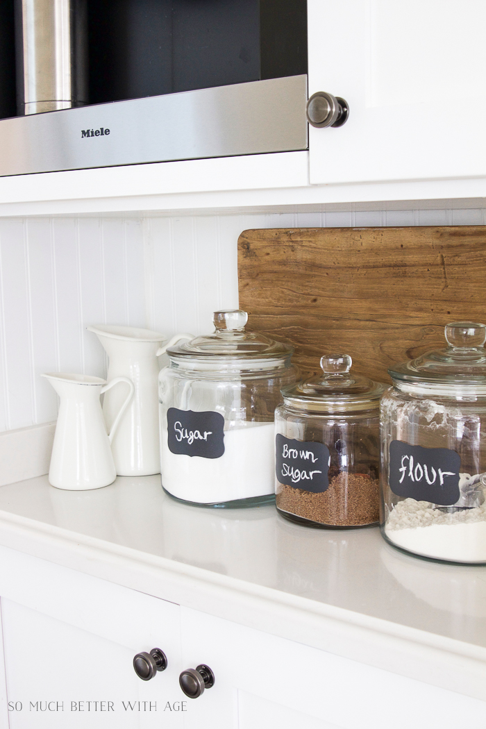 Glass Jar Chalkboard Labels/canisters on kitchen counter - So Much Better With Age