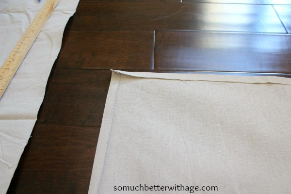 sew edges of dropcloth www.somuchbetterwithage.com