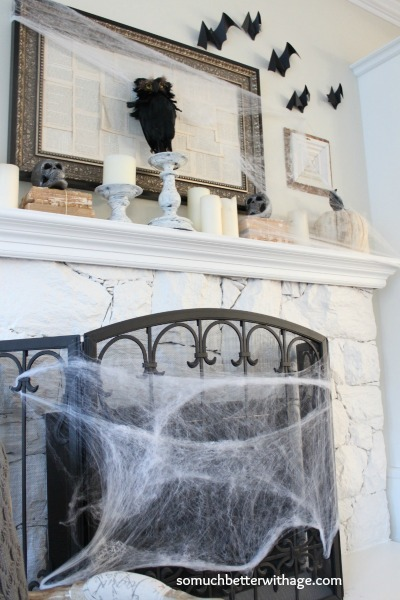 Spider web around the fireplace.