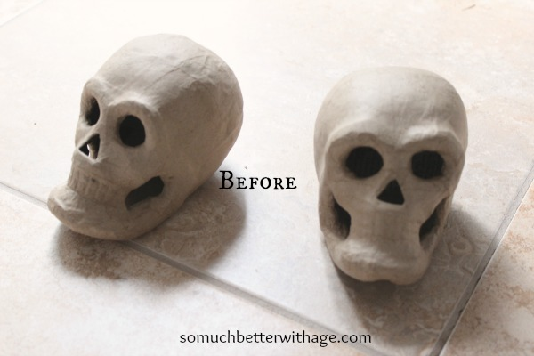 Easy last minute Halloween craft skulls / before picture of skulls - So Much Better With Age