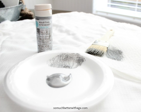 Faux zinc paint technique / picture of paint supplies - So Much Better With Age