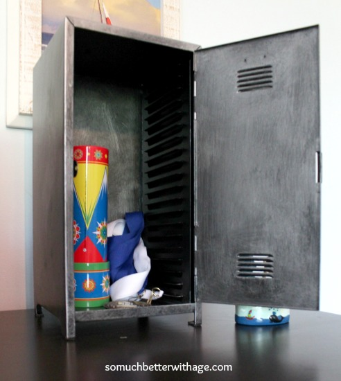 Faux zinc paint technique / toys in locker - So Much Better With Age