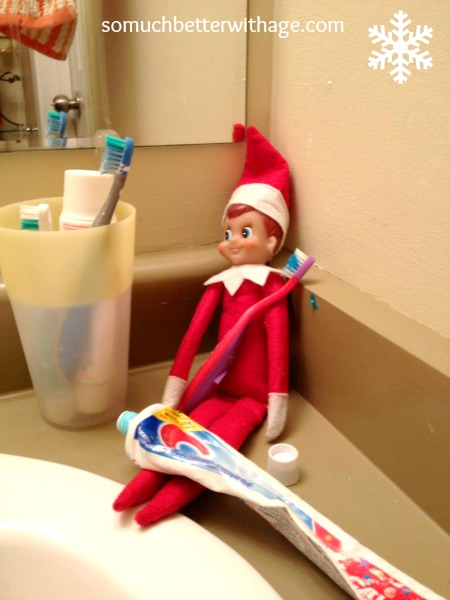 November in review more elf ideas so much better with age for Elf on the shelf bathroom ideas
