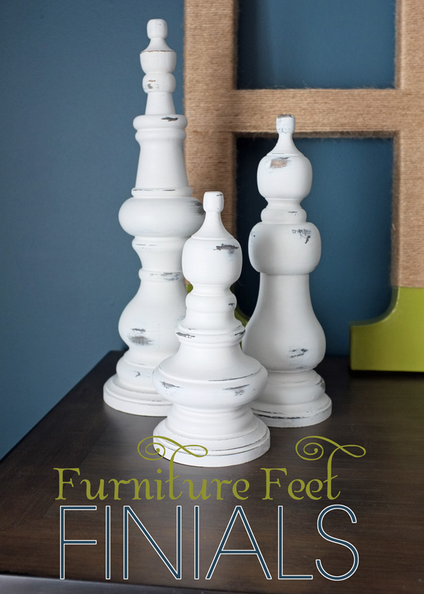 Furniture feet finials white on a table.