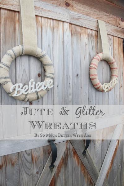Jute and glitter wreaths - somuchbetterwithage.com