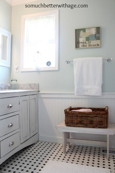Kids' bathroom before and after / white trim in bathroom - So Much Better With Age