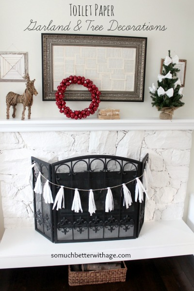 Toilet paper garland and tree decorations - somuchbetterwithage.com