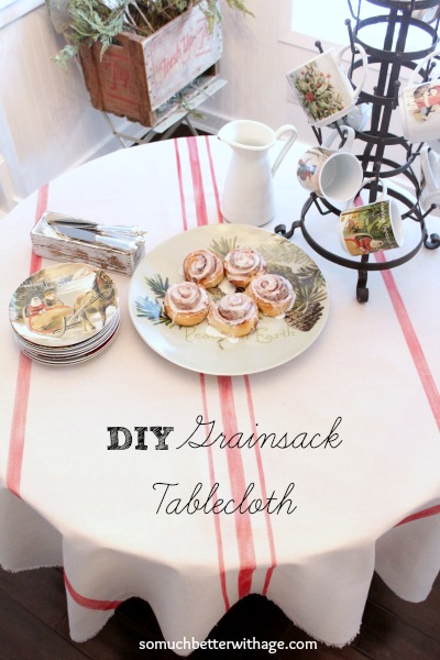 DIY grainsack tablecloth somuchbetterwithage.com